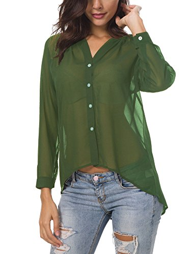 396fc35e12a53 Hotiary Women s Button-Down Blouse 3 4 Long Sleeve Vneck Casual Plain Work  Top See Through Sexy Semi Sheer Chiffon T-Shirt